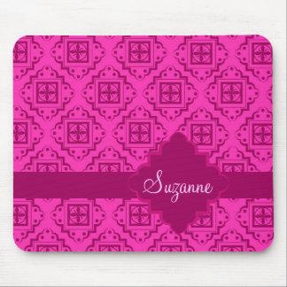 Pink Fuchsia & Magenta Arabesque Moroccan Graphic Mouse Pad