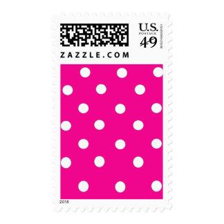 Pink Fuchsia Polka Dot Pattern US Postage Stamps