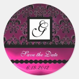PINK FUCHSIA PURPLE DAMASK SQUARE MONOGRAM, violet Classic Round Sticker
