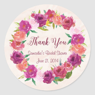 Pink Fuchsia Roses Round Stickers