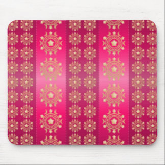 Pink Fuchsia Stripes and Stars Pattern Mouse Pad