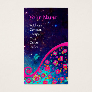 PINK FUCHSIA TURQUOISE BLUE ABSTRACT DECO MONOGRAM BUSINESS CARD