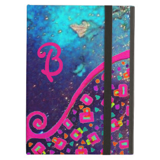 PINK FUCHSIA TURQUOISE BLUE ABSTRACT DECO MONOGRAM COVER FOR iPad AIR