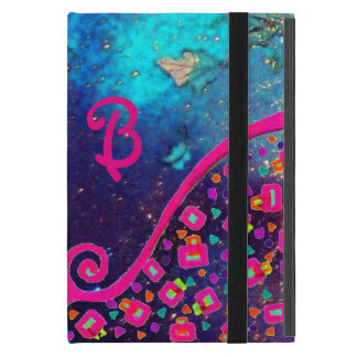 PINK FUCHSIA TURQUOISE BLUE ABSTRACT DECO MONOGRAM iPad MINI COVER