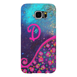 PINK FUCHSIA TURQUOISE BLUE ABSTRACT DECO MONOGRAM SAMSUNG GALAXY S6 CASE