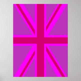 Pink Fuchsia Union Jack Flag Design Poster