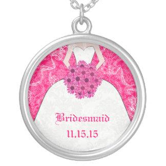 Pink Fuchsia Wedding Bridesmaid Necklace