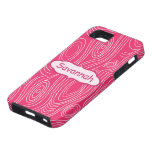 Pink Fuchsia Woodgrain Pattern Personalized iPhone iPhone 5 Cases
