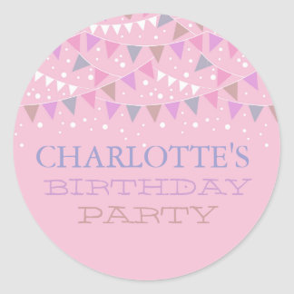Pink Fun Bunting Birthday | Party Sticker