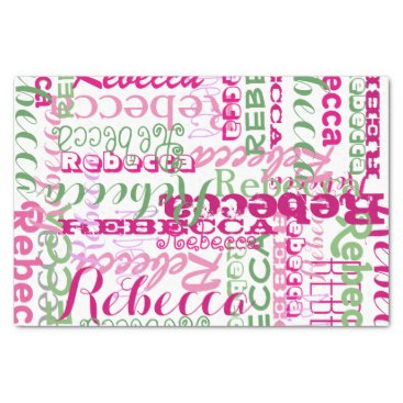 Pink Fun Name Collage Allover Print Tissue Paper