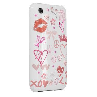 Pink Fun Princess Love Peace iPhone 4 4s Case Case-Mate iPhone 3 Case