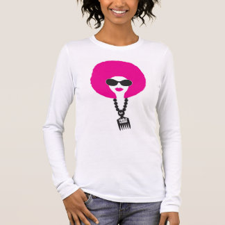 Pink Funk Afro Chick on White LS Tee