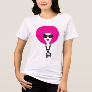 Pink Funk Afro Chick on White SS Tee
