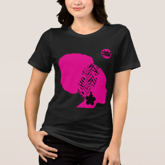 Pink Funk Afro Puff Chick on Black SS Tee