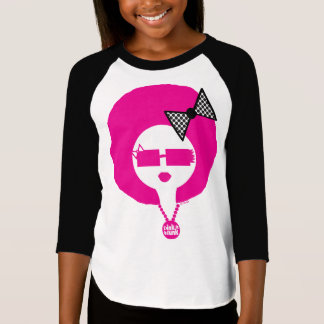 Pink Funk Lil' Afro Chick on Girls Baseball Tee