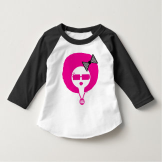 Pink Funk Lil' Afro Chick on Toddler Baseball Tee