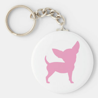 Pink Funny Chihuahua Basic Round Button Keychain
