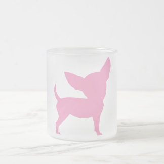 Pink Funny Chihuahua Frosted Glass Coffee Mug