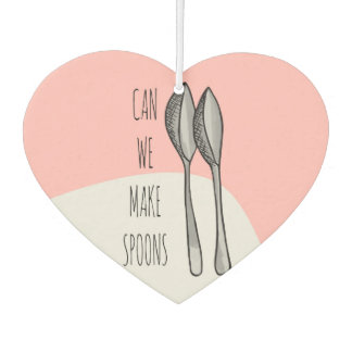 "Pink Funny Cute Hand Drawn ""Can We Make Spoons?"" Air Freshener"