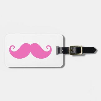 Pink funny handlebar mustache cute trendy bag tag
