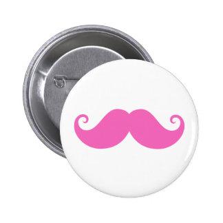 Pink funny handlebar mustache cute trendy pinback button