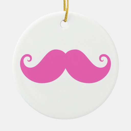 Pink funny handlebar mustache cute trendy Double-Sided ceramic round christmas ornament