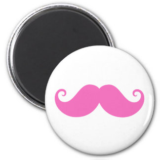 Pink funny handlebar mustache cute trendy 2 inch round magnet