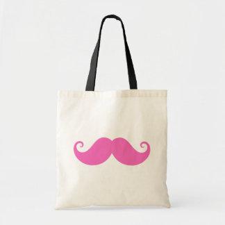 Pink funny handlebar mustache cute trendy tote bag