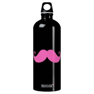 Pink funny handlebar mustache on black SIGG traveler 1.0L water bottle