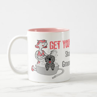 Pink Funny Pet Groomer Custom Get Your Groom On Two-Tone Coffee Mug