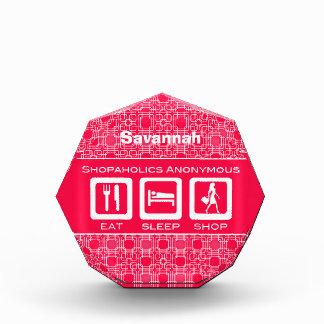 Pink Funny Shopaholic Eat Sleep Shop Award