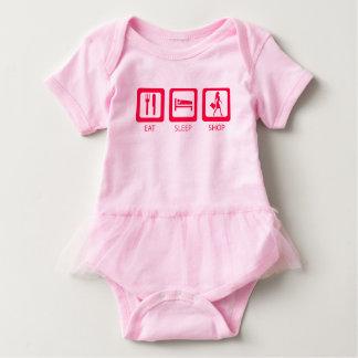 Pink Funny Shopaholic Eat Sleep Shop Award Baby Bodysuit
