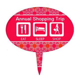 Pink Funny Shopaholic Eat Sleep Shop Award Cake Topper