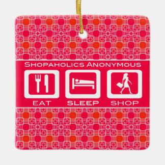 Pink Funny Shopaholic Eat Sleep Shop Award Ceramic Ornament