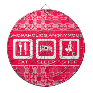 Pink Funny Shopaholic Eat Sleep Shop Award Dart Boards