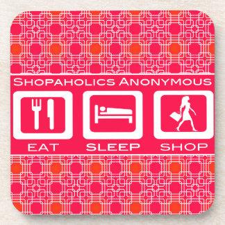 Pink Funny Shopaholic Eat Sleep Shop Award Drink Coaster