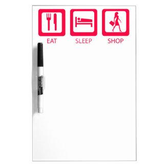 Pink Funny Shopaholic Eat Sleep Shop Award Dry Erase Board
