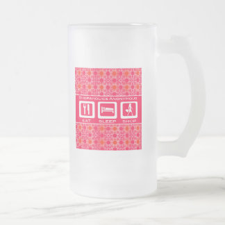 Pink Funny Shopaholic Eat Sleep Shop Award Frosted Glass Beer Mug