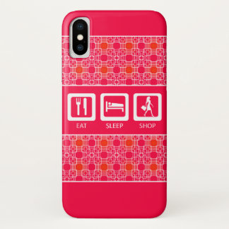 Pink Funny Shopaholic Eat Sleep Shop Award iPhone X Case