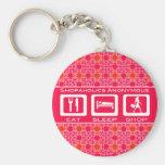 Pink Funny Shopaholic Eat Sleep Shop Award Keychains