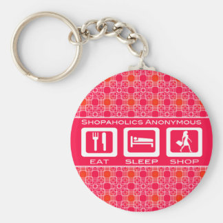 Pink Funny Shopaholic Eat Sleep Shop Award Keychain
