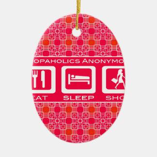 Pink Funny Shopaholic Eat Sleep Shop Award Double-Sided Oval Ceramic Christmas Ornament