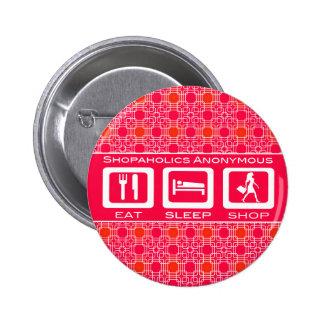 Pink Funny Shopaholic Eat Sleep Shop Award Pinback Button