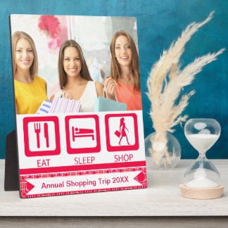Pink Funny Shopaholic Eat Sleep Shop Award Plaque