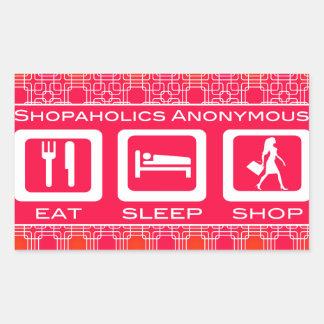 Pink Funny Shopaholic Eat Sleep Shop Award Rectangular Sticker