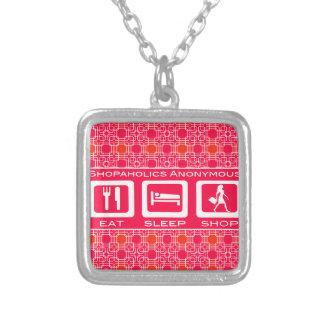 Pink Funny Shopaholic Eat Sleep Shop Award Square Pendant Necklace