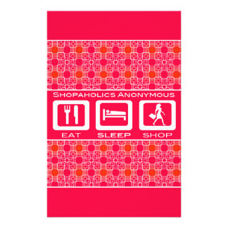 Pink Funny Shopaholic Eat Sleep Shop Award Stationery