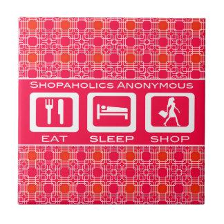 Pink Funny Shopaholic Eat Sleep Shop Award Tile