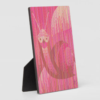 Pink funny snail. Geometric style photo plaque
