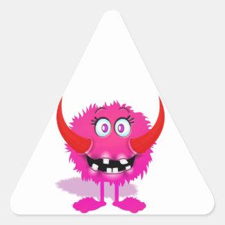 Pink Furry Fluffy Cartoon Monster Triangle Sticker